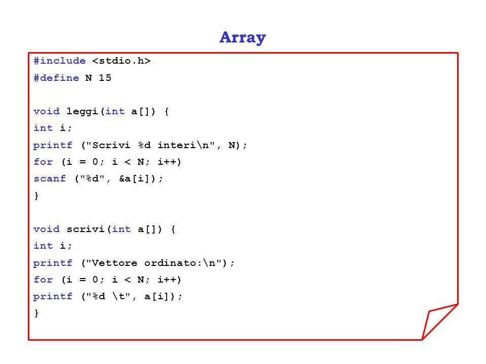 Array #include <stdio.h> #define N 15 void leggi(int a[]) {